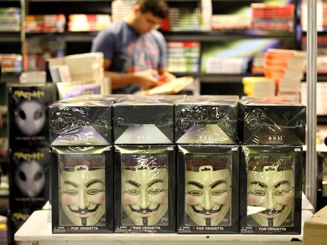 A stall displays V for Vendetta masks at the Comic Con (Raj K Raj/HT)