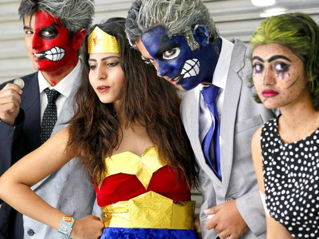 People dressed up like comic book heroes and characters during the 4th Annual Indian Comic Con (Raj K Raj/HT)