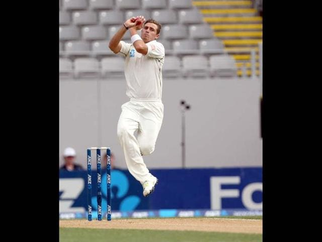 Tim Southee of New Zealand bowls during day two of the first Test at Eden Park in Auckland. (AFP Photo)