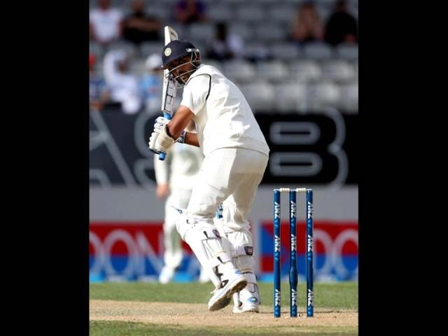 Murali Vijay bats during day three of the first Test against New Zealand at Eden Park in Auckland. (AFP Photo)