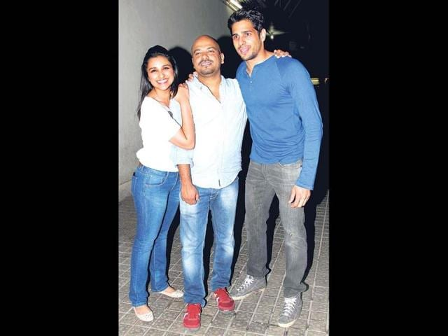 Parineeti Chopra, Vinil Mathew and Sidharth Malhotra have some fun at the screening of their film Hasee Toh Phasee.