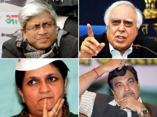 A-combo-photo-of-Aam-Aadmi-Party-leaders-Ashutosh-and-Anjali-Damania-Congress-leader-Kapil-Sibal-and-BJP-s-former-president-Nitin-Gadkari-Agency-Photos