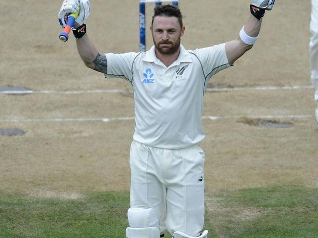 New Zealand skipper Brendon McCullum celebrates his 300 runs during day 5 of the 2nd Test against India at the Basin Reserve in Wellington. (AFP Photo)
