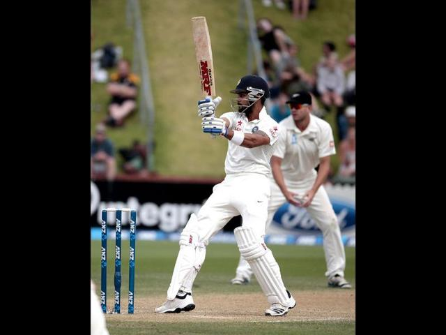 Virat Kohli plays a shot against New Zealand during the second Test at the Basin Reserve in Wellington. (Reuters Photo)