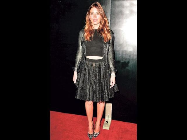 Jessica Biel: At a recent movie premiere, the Hollywood actor kept the cold at bay as she teamed a thick crop top with a black leather jacket and a lacy, black skirt.
