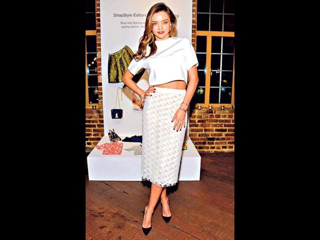Miranda Kerr: The Australian supermodel gets full marks for her high-waisted white skirt and top combination. A red pout gives it the right oomph.