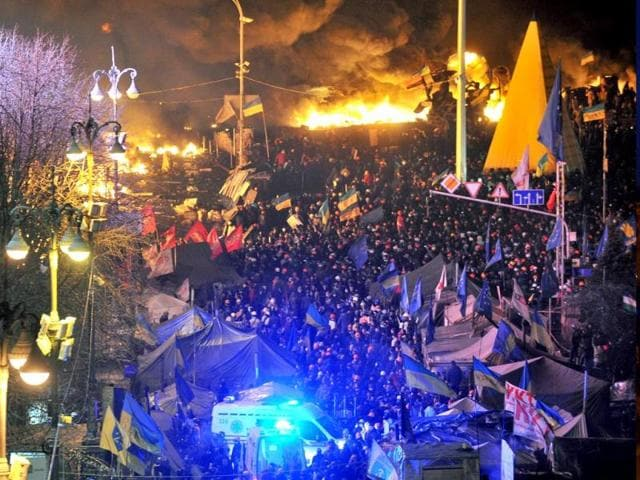 Protesters clash at Independence Square in Kiev, Ukraine. (Reuters)