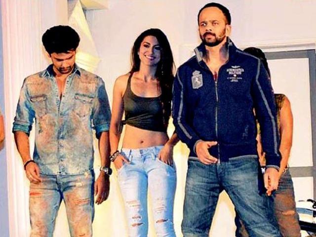 Gauhar-Khan-and--Kushal-Tandon-with-Rohit-Shetty-who-is-hosting-Khatron-Ke-Khiladi-5