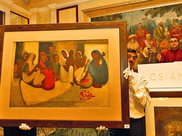 A-file-photo-of-Village-Scene-1938-by-Amrita-Sher-Gil-being-auctioned-in-New-Delhi-in-2006