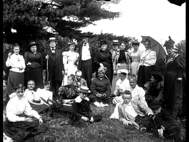 Swami Vivekananda and guests at Green Acre School, Eliot, Maine, ca. 1894. (Photo courtesy: Eliot Baha'i Archives and Maine Memory Network/Smithsonian Institution Asian Pacific American Program)