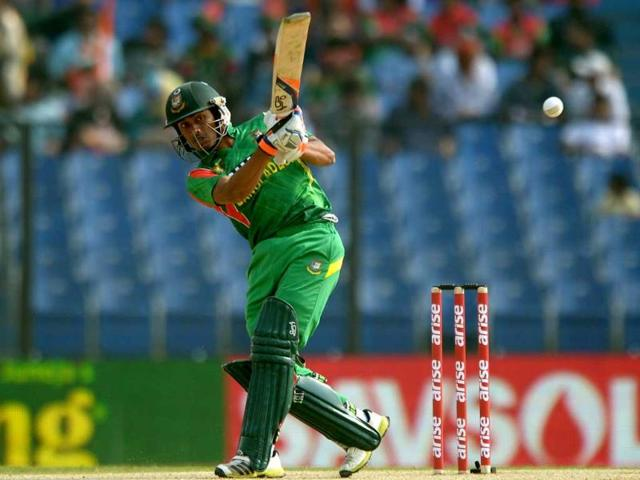 Bangladeshi cricekter Anamul Hoque Bijoy plays a shot during the second match of the Asia Cup against India at the Khan Shaheb Osman Ali Stadium in Fatullah. (AFP Photo)