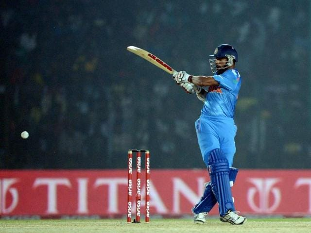 Shikhar Dhawan plays a shot during the second match of the Asia Cup against Bangladesh at the Khan Shaheb Osman Ali Stadium in Fatullah. (AFP Photo)