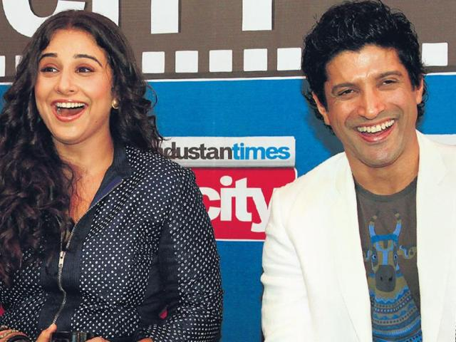 Stars-in-the-City-Vidya-Balan-and-Farhan-Akhtar-promote-Shaadi-Ke-Side-Effects-at-HT-House