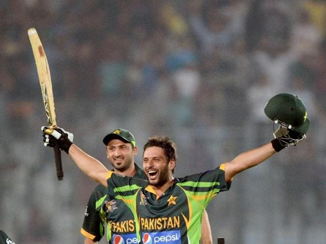 Pakistan-cricketer-Shahid-Afridi-reacts-R-and-Junaid-Khan-L-looks-on-after-winning-the-sixth-match-of-the-Asia-Cup-one-day-cricket-tournament-between-India-and-Pakistan-at-the-Sher-e-Bangla-National-Cricket-Stadium-in-Dhaka-AFP-Photo