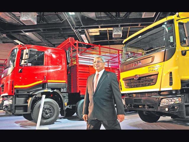 Ravi-Pisharody-executive-director-commercial-vehicles-Tata-Motors-with-newly-launched-trucks-on-Thursday-Photo-Sushil-Kumar-HT