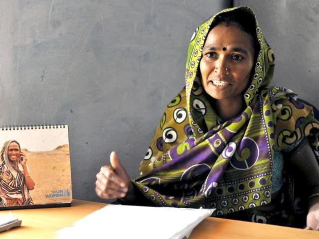 Vandana-Bahadur-Maida-sarpanch-of-Khalkhandvi-Gram-Panchayat-in-Jhabua-district-of-western-Madhya-Pradesh-in-her-office-with-the-UN-calendar-in-which-she-featured-on-the-table-Amit-K-Jaiswal-HT-Photo