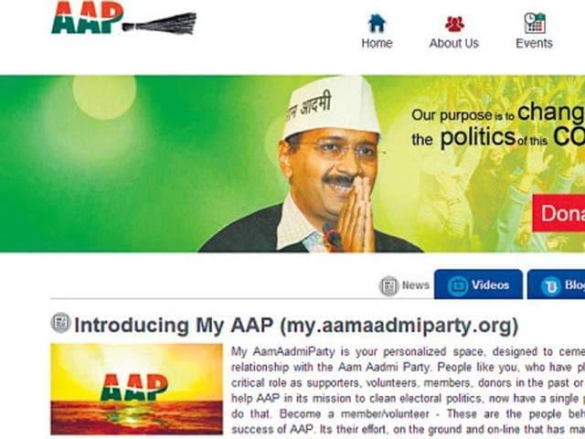 AAP website,Arvind Kejriwal,Aam Aadmi Party