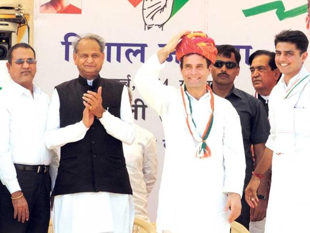 AICC-vice-president-Rahul-Gandhi-with-former-Rajasthan-CM-Ashok-Gehlot-and-state-Congress-president-Sachin-Pilot-at-the-launch-of-Lok-Sabha-poll-campaign-at-Devli-village-on-Monday-Himanshu-Vyas-HT-Photo
