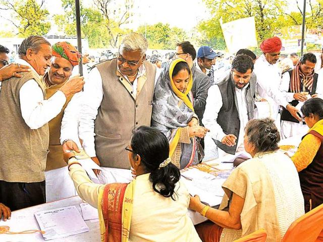 BJP-members-arrive-at-a-feedback-meeting-to-select-Lok-Sabha-candidates-at-the-party-office-in-Jaipur-HT-file-photo