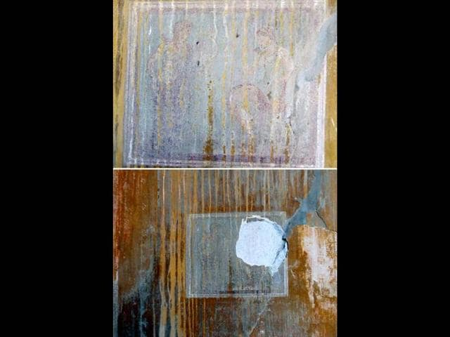 A-handout-combination-of-photo-released-by-the-Italian-culture-minister-press-office-on-March-18-shows-an-ancient-fresco-from-Pompeii-top-and-the-same-fresco-after-thieves-removed-the-portrait-of-a-Greek-deity-from-it-as-they-broke-into-a-closed-area-of-the-UNESCO-World-Heritage-landmark-in-Pompeii-AFP-photo