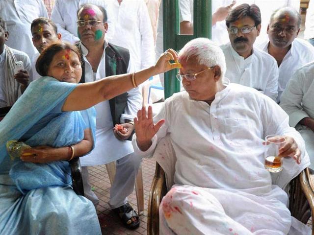 RJD-chief-Lalu-Prasad-with-his-wife-Rabri-Devi-celebrates-Holi-at-his-residence-in-Patna-PTI-photo