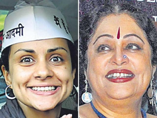 Gul-Panag-left-is-Aam-Aadmi-Party-candidate-while-Kirron-Kher-right-is-the-Bharatiya-Janata-Party-candidate-from-Chandigarh-HT-photo
