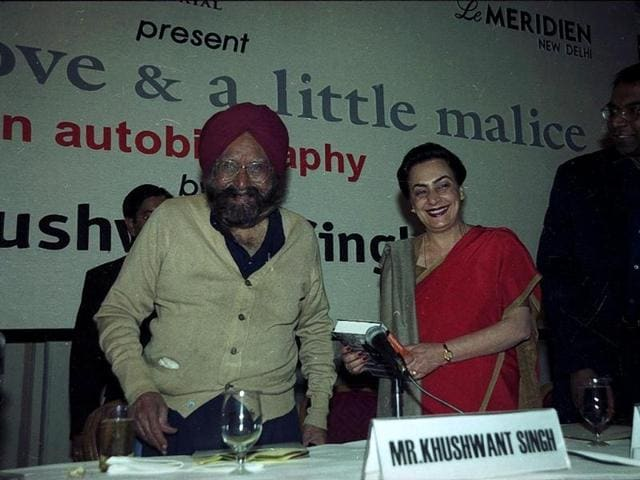 Internationally renowned author and journalist Khushwant Singh, who passed away at the age of 99 on Thursday, at the launch of his autobiography 'Truth, Love and a Little Malice' on February 5, 2002. The name of the book was derived from a column he wrote for Hindustan Times. It was syndicated in several newspapers with the title 'With malice towards one and all'. Sunil Saxena/HT Photo