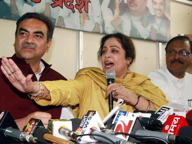 BJP-candidate-Kirron-Kher-with-party-leaders-Sanjay-Tandon-and-Satpal-Jain-addresses-a-press-conference-at-the-party-office-in-Chandigarh-PTI-photo