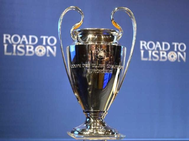 The-tournament-trophy-stands-on-show-during-the-draw-for-the-quarter-finals-of-the-UEFA-Champions-League-at-the-UEFA-headquarters-in-Nyon-AFP-Photo
