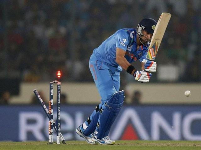 Yuvraj Singh is bowled out during their ICC World Twenty20 match against Pakistan in Dhaka. (AP Photo)