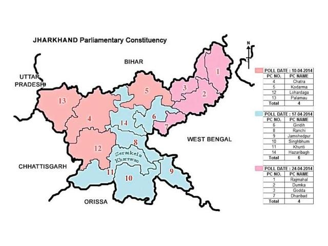 Carved-out-in-2001-Seraikela-Kharsawan-has-no-Lok-Sabha-constituency-Its-three-assembly-constituencies-Seraikela-Ichagarh-and-Kharswan-are-tagged-with-Singhbhum-Ranchi-and-Khunti-parliamentary-constituencies-respectively-HT-Photo