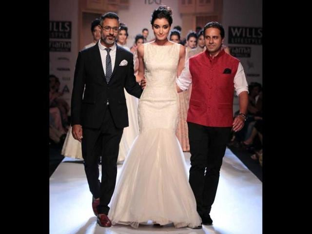 'Vintage rose' is what came to mind as designer Shantanu and Nikhil Mehra's show took over the runway at Wills Lifestyle India Fashion Week (WIFW) on Day 1. (HT Photo/ Rajesh Kashyap)