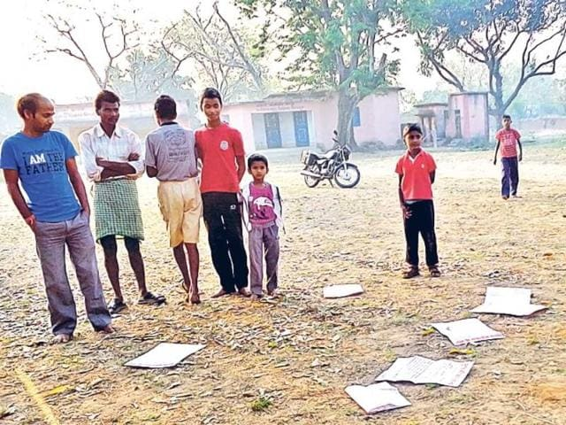 Posters-dropped-by-Maoists-strewn-all-around-on-the-ground-of-a-school-at-a-village-in-Govindpur-Dhanbad-The-posters-call-for-boycotting-the-general-elections-Bijay-HT-photo