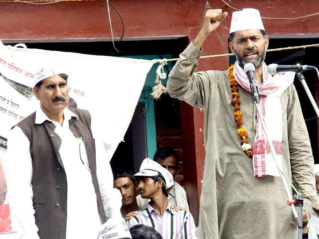 A-file-photo-of-Aam-Aadmi-Party-AAP-leader-Yogendra-Yadav-with-supporters-going-for-Lok-Sabha-nomination-in-Gurgaon-HT-photo-Parveen-Kumar