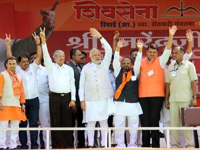 BJP-s-PM-candidate-Narendra-Modi-with-BJP-Shiv-Sena-leaders-during-their-joint-election-rally-in-Amravati-PTI-Photo