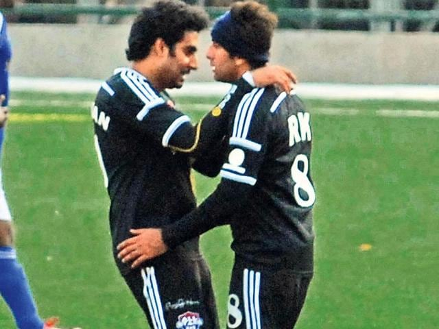 Abhishek Bachchan and Ranbir Kapoor who played as a team at a football match held in Mumbai. Dino Morea, Aditya Roy Kapur, Shoojit Sircar and Shabbir Ahluwalia, among others, were also part of the team.