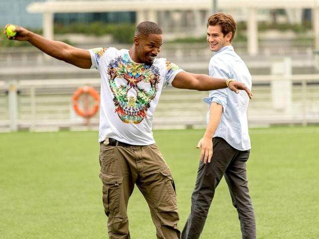 Time to bowl: Jamie Foxx shares a light moment with Andrew Garfield as he tries to get his bowling action right.