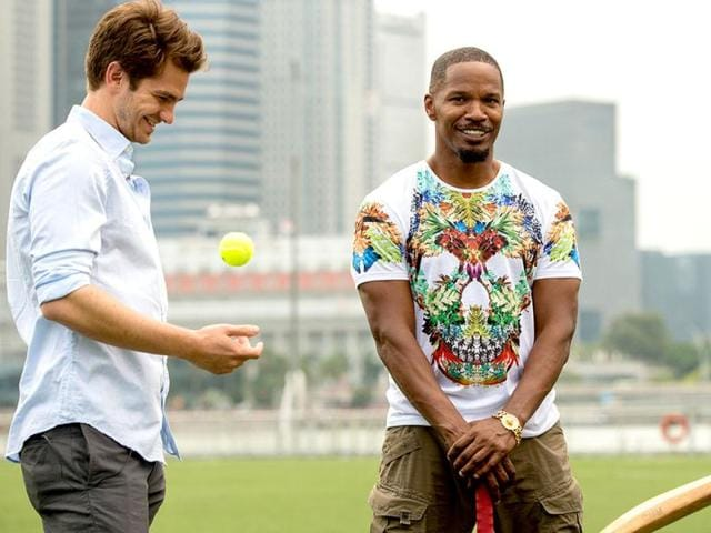 Howzzat? The stars of The Amazing Spider-Man 2, which releases in India on May 1, get a piece of Indian Premiere League action at an event to promote Earth Hour in Singapore. Here, the Spidey bad guy Jamie Foxx takes the bat while Andrew Garfield flicks the ball.