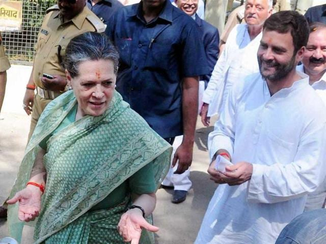 Congress-president-Sonia-Gandhi-with-party-vice-president-Rahul-Gandhi-after-filing-her-nomination-papers-in-Rae-Bareli-on-Wednesday-PTI-Photo