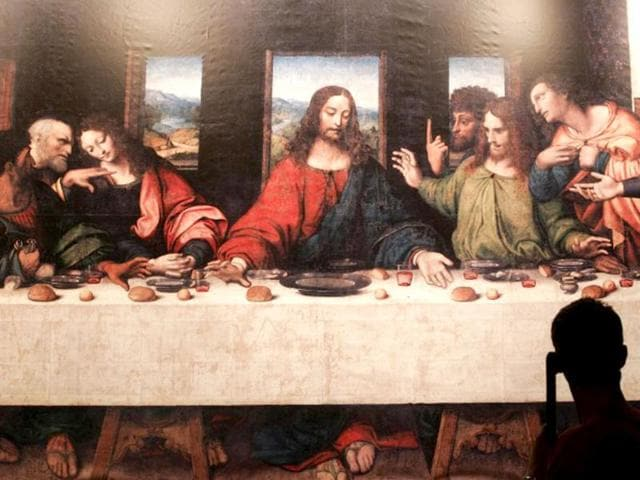 Illustration-picture-shows-The-last-supper-of-Tongerlo-painted-by-Leonardo-da-Vinci-during-the-exhibition-The-European-Genius-22-August-2007-in-the-National-Basilica-of-Koekelberg-central-Brussels-AFP-Photo