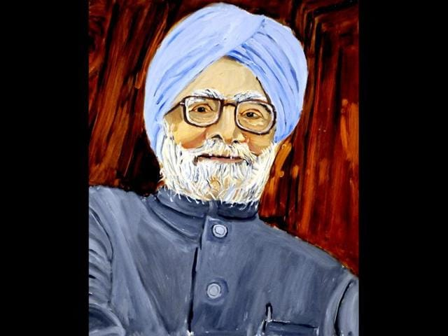 A-detail-of-a-portrait-of-Indian-Prime-Minister-Manmohan-Singh-which-is-part-of-the-exhibit-The-Art-of-Leadership-A-President-s--Diplomacy-is-on-display-at-the-George-W-Bush-Presidential-Library-and-Museum-in-Dallas-AP-photo