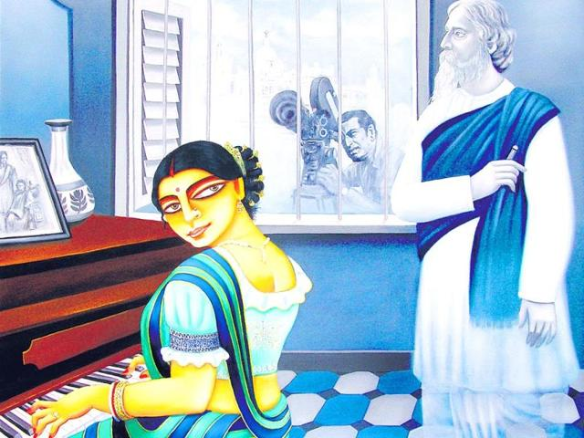 Mumbai-based-artist-Gautam-Mukherjee-pays-tribute-to-Rabindranath-Tagore-and-Satyajit-Ray-through-an-ongoing-exhibition