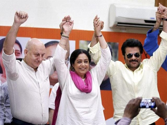 Actor-Anil-Kapoor-visited-Chandigarh-on-Sunday-to-campaign-for-actor-Kirron-Kher-who-is-contesting-from-Chandigarh-as-a-BJP-candidate-Kirron-s-husband-Anupam-Kher-is-also-seen-in-the-picture-HT-PHOTO
