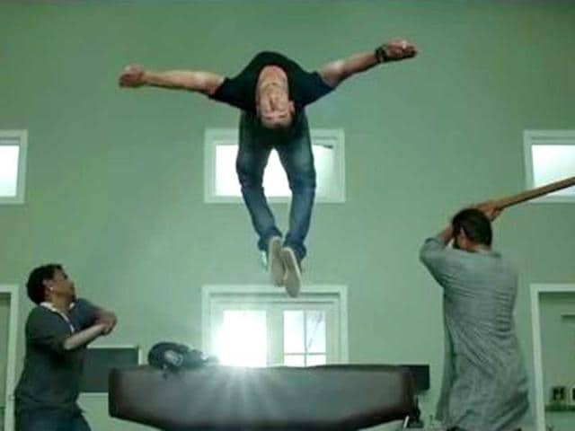 Tiger Shroff performs a stunt.