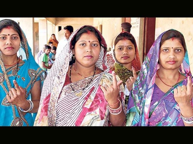 Women-show-the-ink-marks-on-their-fingers-after-casting-votes-in-Giridih-on-Thursday-Binod-Kumar-Sharma-HT-photo