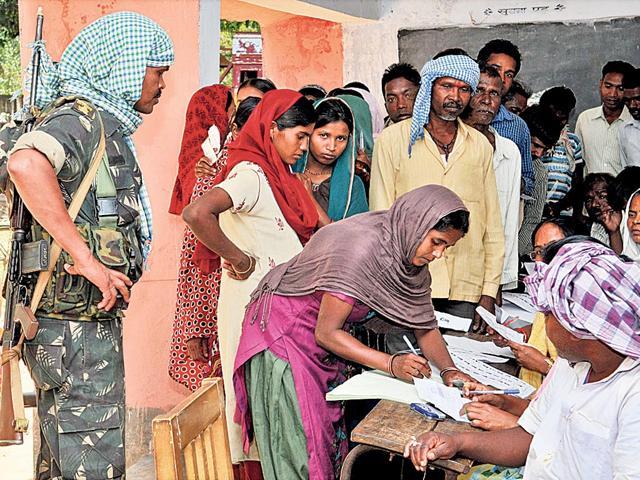 Polling-goes-on-under-tight-security-at-booth-no-55-in-Chanhoi-Lohardaga-on-Thursday-Diwakar-Prasad-HT-photo