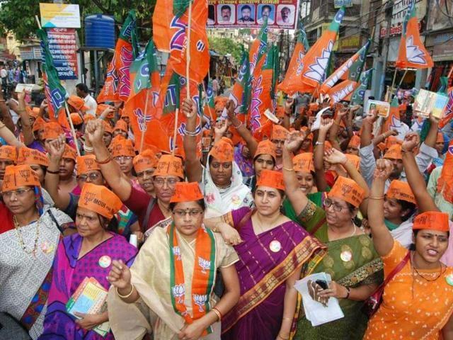 BJP-s-Mahila-Morcha-undertook-a-pad-yatra-in-Varanasi-to-campaign-for-Narendra-Modi-Rajesh-Kumar-HT-photo