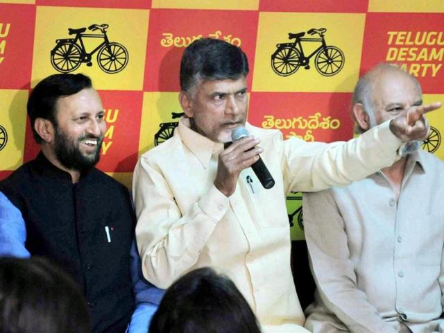 BJP-leader-Prakash-Javadekar-and-TDP-supremo-Chandrababu-Naidu-at-a-conferrence-after-they-announced-an-alliance-just-before-Lok-Sabha-polls-in-Hyderabad-PTI-Photo