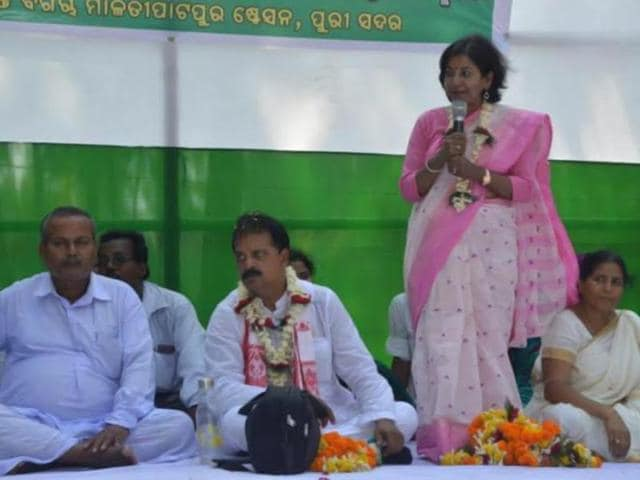 Sucharita-Mohanty-speaks-at-a-rally-in-Puri-The-former-journalist-is-the-Congress-candiate-from-the-temple-town