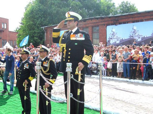 A-file-photo-of-RK-Dhowan-who-took-over-as-the-Navy-chief-taking-salute-at-the-commissioning-ceremony-of-the-INS-Trikand-HT-photo
